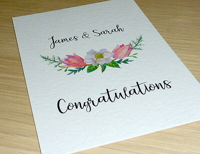 Personalised Wedding Engagement Anniversary card - floral - handmade card