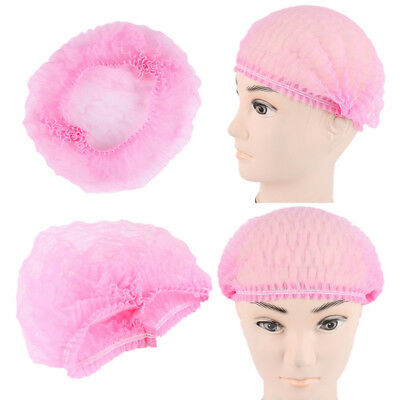 Disposable Non-woven Bouffant Cap Hair Net Cap Elastic Free100pcs Pink