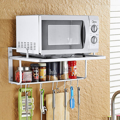 Microwave Oven Holder Space Aluminum 2 Layer With 10 Hooks Shelf Kitchen Tool