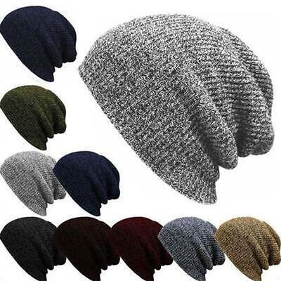 Slouchy Knitted Mens Womens Beanie Winter Hat Ski Chic Skull Cap Wool Hat Hot EC