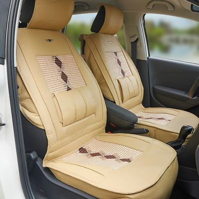 1x Luxury Leather Car Front Seat Cover Protector Lumbar Back Support Universal