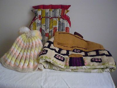 VINTAGE TEA COSIES x 3 (THREE)  KNITTED HAND MADE X 2 POLY/ PLASTIC FABRIC X 1