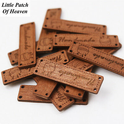 """Carved Wooden """"Handmade"""" Button/Sewing Labels for Handmade Items, decoration/DIY"""