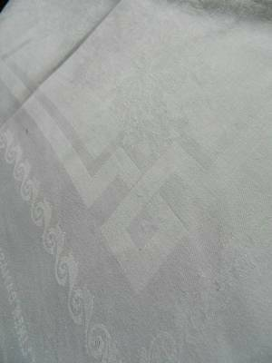 "Vintage white Irish linen damask tablecloth - Chrysanths design 52"" x 52"""