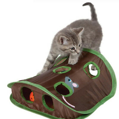 Cat Dog Pet Play TENT Tunnel Playground Mouse Hole Bell Catch House Toy