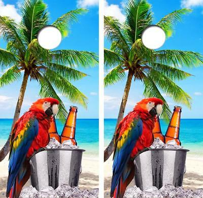 VINYL WRAPS Cornhole Boards DECALS Parrot Palm Tree Bag Toss Game Stickers 220
