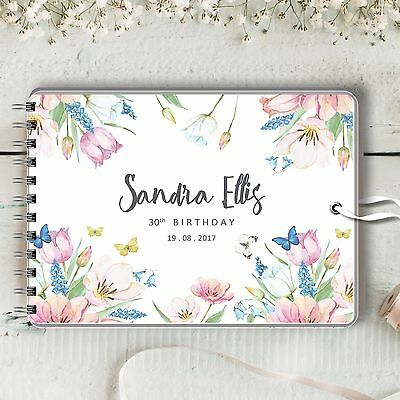 Personalised Birthday Guest Book, Spring, Blank Message Photo Book, 2 Sizes