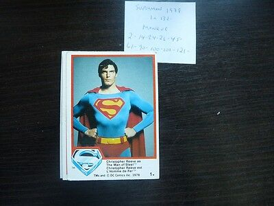 trading card 1978 Topps Superman The Movie  Series 1-2  less 10 cards on 132