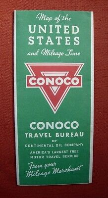 1940s CONOCO MAP of the UNITED STATES