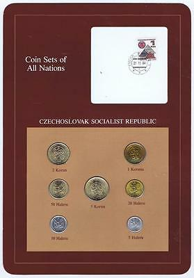 Czechoslovkia 7 pc Mint Set 1969-84 BU Coin Sets of All Nations stamp