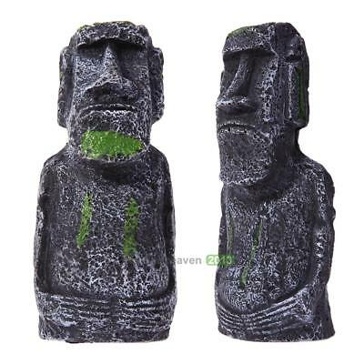 Aquarium Rock Ornament Face Easter Island Statue Heads Fish Tank Decoration Tool