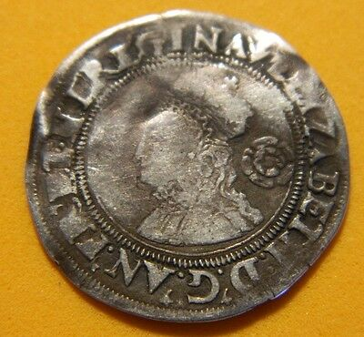 Tudor Period 1562 Elizabeth 1St Silver Sixpence Rose Beside Bust.mm Pheon