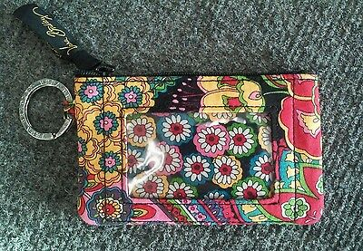 "Preowned Unused Vera Bradley Keychain ID Coin Purse 3x5"" Bright Colors"
