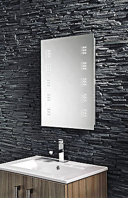 illuminated led bathroom cabinet mirror with shaver socket motion