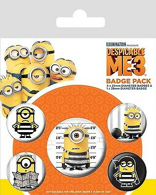 MINIONS - DESPICABLE ME 3 - Breakout - Button Set - Badge Pack - Neu OVP