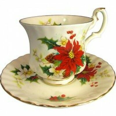 ENGLAND Royal Albert Poinsettia TEA CUP AND SAUCER