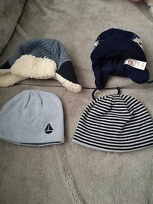 4 baby boys winter hats size 0-6 months