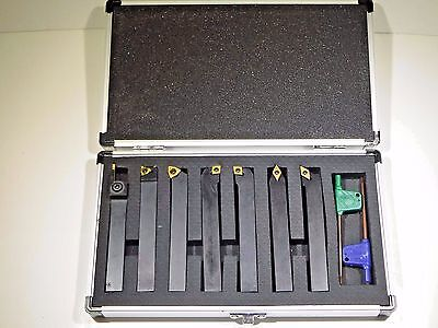 """7 Piece 1/2"""" Square Shank Indexable Cut Off & Turning Tool Set (2002-0113)New"""