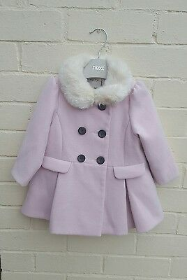 NEXT 12-18 month girls duffle coat with fur hood Dusky Pink gorgeous! lined