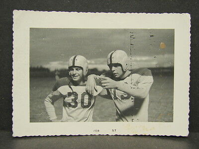 "Vintage 1957 Football Players Photograph Snapshot Kodak Velox Photo 3.5"" x 5"""