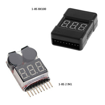 1-8S BX100 2 In1 Lipo Li-ion Battery Low Voltage Tester Buzzer Alarm Dual Spea