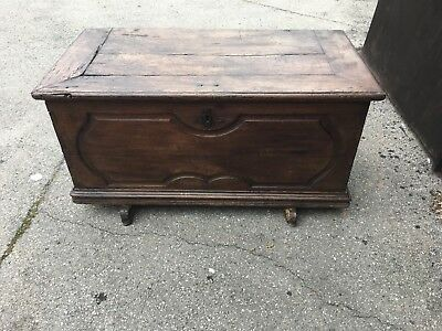Antique Oak Coffer / Blanket Box With Candle Box