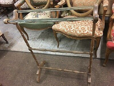 Vintage French Towel Rail With Glass Towel Holders