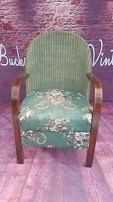 Vintage Old Retro Floral Green Seat Chair Wooden Wicker Nursing Conservatory