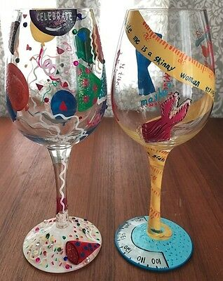 2 Enesco Lolita Wine Glasses- Kind Of On A Diet & Celebrate