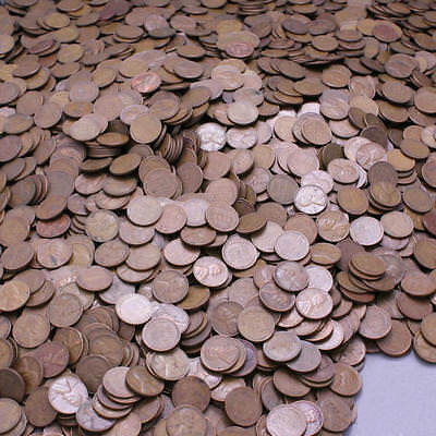 1940-1958 Lincoln Wheat Cent Lot of 5000 Average Circulated Cheap