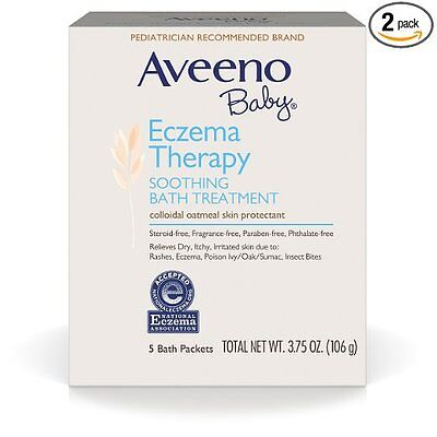 Aveeno Baby Eczema Therapy Soothing Baby Bath Treatment, 5 Count-3.75oz (Pack of