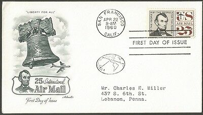 Us Fdc 1960 25C International Air Mail Stamp Artmaster First Day Of Issue