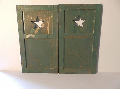 Pair Antique Small Star Window Wood Shutter Texas Lodge Cottage 28x16 447-17P