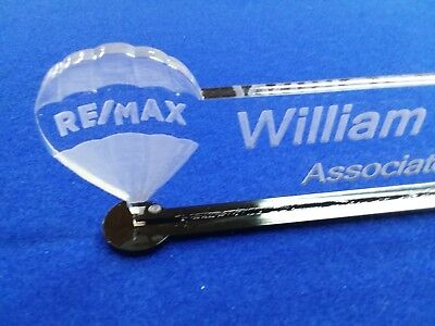 Personalized ReMax Logo Real Estate Acrylic Glass NAME PLATE BAR Desk FreeShip