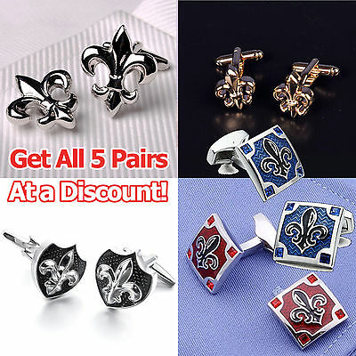 Italian Fleur-De-Lis Symbol Crest Silver Cuff Links Men's Luxury Jewelry Fashion