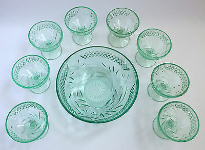 FLORAL & DIAMOND BAND Berry Bowl 8 Sherbet Dishes Depression Vintage Green Glass