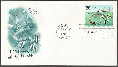 Us Fdc 1994 Wonders Of The Sea 29C Stamp First Day Of Issue Cover Honolulu Hi