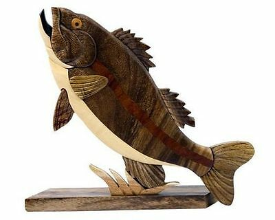 "Wood Intarsia Largemouth Bass Fish Magnet 4.25/"" Long Handcrafted New!"