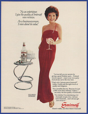 Vintage 1982 SMIRNOFF Vodka Alcohol Liquor Featuring Polly Bergen Print Ad 80's