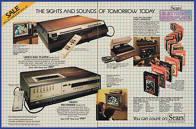 Vintage 1982 SEARS Electronics Video Disc Atari 2600 Game Console Print Ad 80's