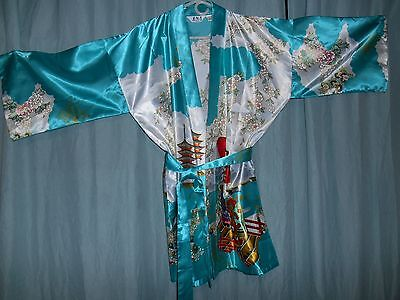 A+ Japan JuGuemm short satin-y poly kimono robe jacket turquoise+ Geisha  XL 194