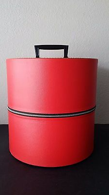 Vintage SerVal Red Textured Wig Hat Case Box Travel Tote Round Zippered Carrier