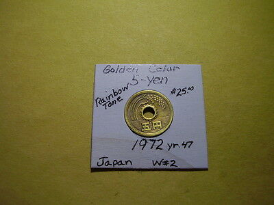 Rare Date Old Japan 1972 yr.47 Golden Color 5 Yen Rice Stalk ~Closeout Sale~ W#2