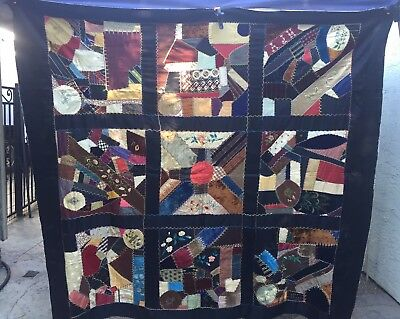 "Vintage Crazy Quilt Top Silk Velvet Denim Back Embroidery Hand Painted 75"" X 67"""