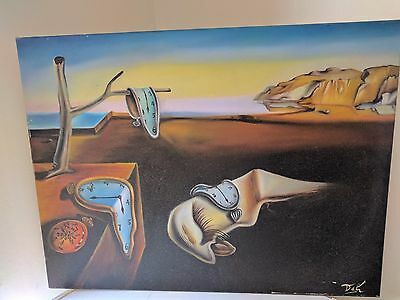 Dali oil painting on framed canvas - The Persistence of Memory