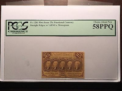 1st Issue Fr.1281 25c United States Fractional Currency - PCGS AU 58PPQ