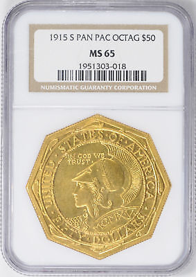 1915-S Gold $50 Ngc Ms 65