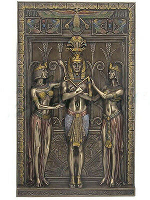 "16"" Egyptian Pharaoh w/ Maiden Wall Plaque Egypt Decor Statue Figure Sculpture"