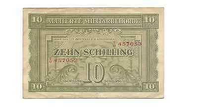 Serie 1944 Allied Military Currency 10 Zehn Schilling WWII Era Austria Note