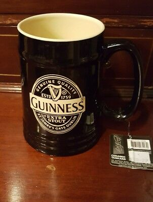 Guinness Black Label Ceramic Tankard Irish Ireland Dublin Extra Stout Beer Stein